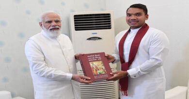 The first translated copy of Bhagawath Geetha presented to the Indian Prime Minister